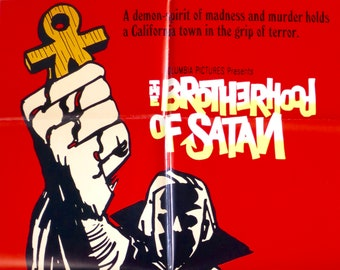 """The Brotherhood of Satan ~ Original U.S. 1 Sheet Movie Poster~ 1971 Folded 27""""x41"""" in Very Good Cond. ~ Superb Horror Art! Strother Martin!"""