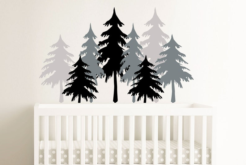 3 color pine tree forest wall decals nursery wall decal image 0