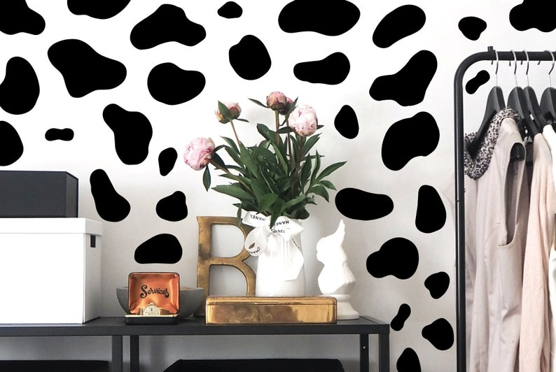 Cow pattern decal living room wall decal animal decal wall image 0
