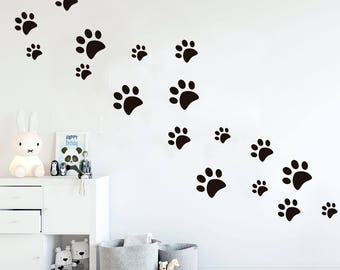 Paws wall decal, dog wall decal, paw prints, dog paws, paws stickers, dog stickers, wall decal, wall stickers, cat paws, animal decal, paws