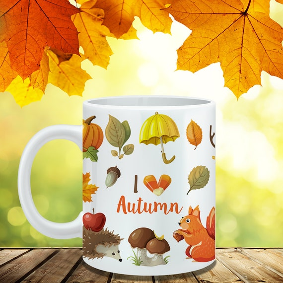 Coffee Mug I Love Autumn Coffee Cup -  Fall Coffee Mug - Leaves Mug - Fall Cup