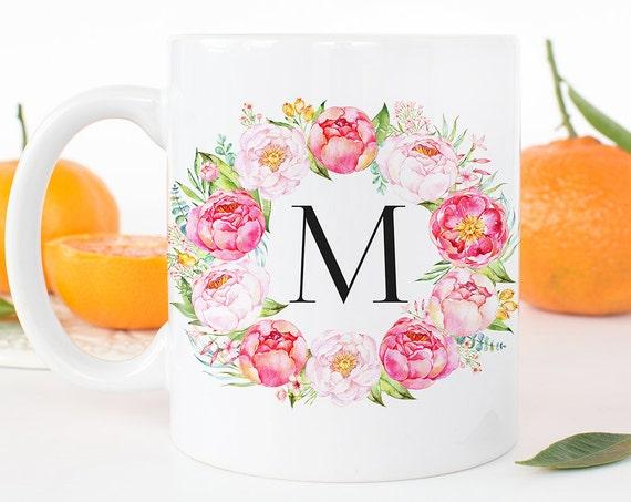 Coffee Mug Personalized Mug - Peony Floral Cup - Single Initial Monogram