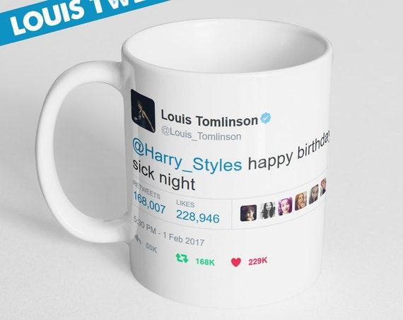 Coffee Mug Louis Birthday Tweet To Harry Coffee Cup, Louis Tomlinson & Harry Styles, Louis Tweets Harry Mug, Larry Stylinson, Larry Mug,