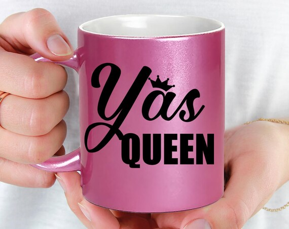 Yas Queen Pink Coffee Mug - Microwave Dishwasher Safe Pink Coffee Mug