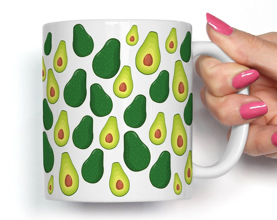 Avocado Coffee Mug Microwave and Dishwasher Safe Ceramic Cup Great Gift for Vegan or Vegetarian