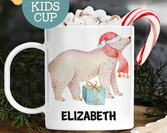 Kids Personalized Christmas Cup With Name Polar Bear in Santa Hat | Dishwasher Safe Lightweight Unbreakable Cup | BPA Free Mug