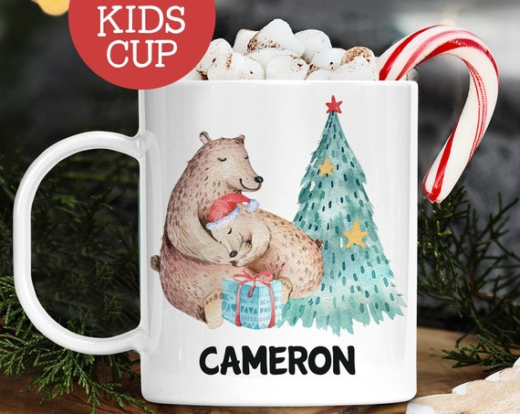 Kids Personalized Christmas Cup With Name Polar Bear Mom and Baby | Dishwasher Safe Lightweight Unbreakable Cup | BPA Free Mug