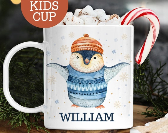 Kids Personalized Christmas Cup With Name Cute Penguin in Sweater | Dishwasher Safe Lightweight Unbreakable Cup | BPA Free Mug
