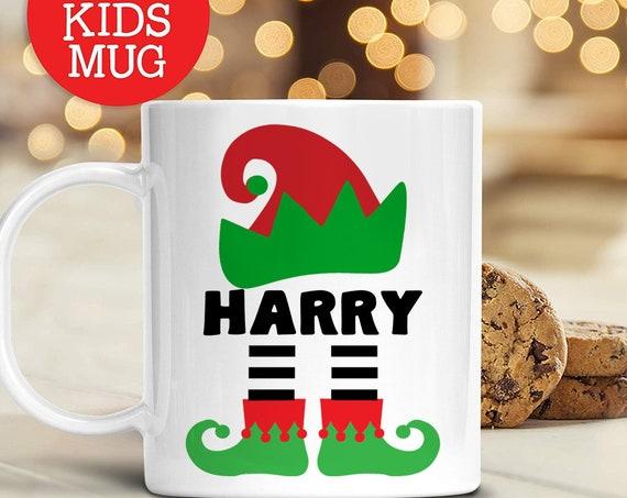 Kids Personalized Elf Christmas Mug | Dishwasher Safe Lightweight Unbreakable Cup Kids BPA Free Plastic Mug for Toddler