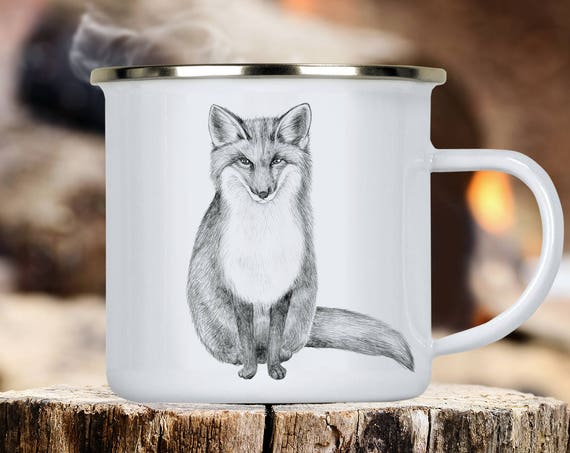 Fox Camp Cup - Illustrated Fox Enamel Mug - Dishwasher Safe