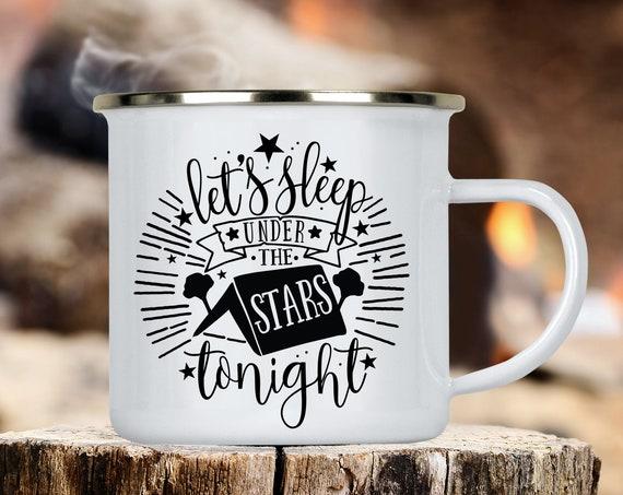 Camp Cup Let's Sleep Under The Stars Tonight Enamel Camp Mug - Dishwasher Safe