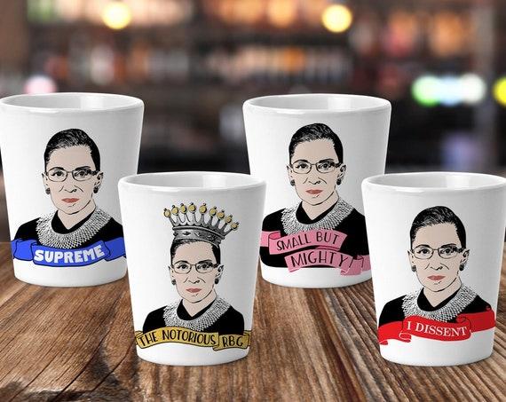 The Notorious RBG Shot Glass Set | Limited Edition Collectors Set of Ruth Bader Ginsburg Ceramic Shot Glasses | Set of 4