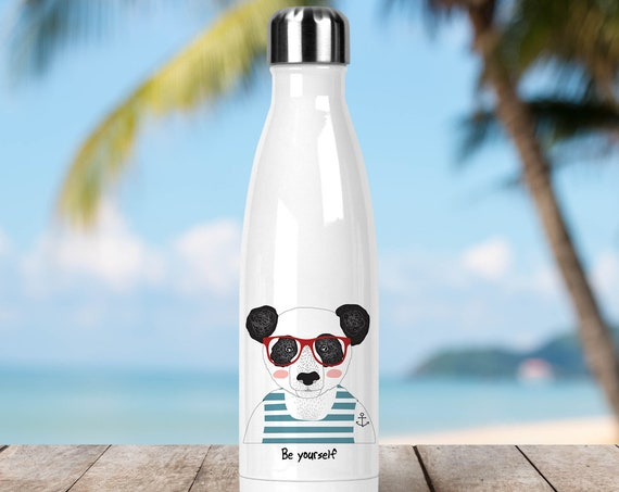 Stainless Steel Water Bottle - Be Yourself Panda with Tattoo - BPA Free Eco Friendly Water Bottle