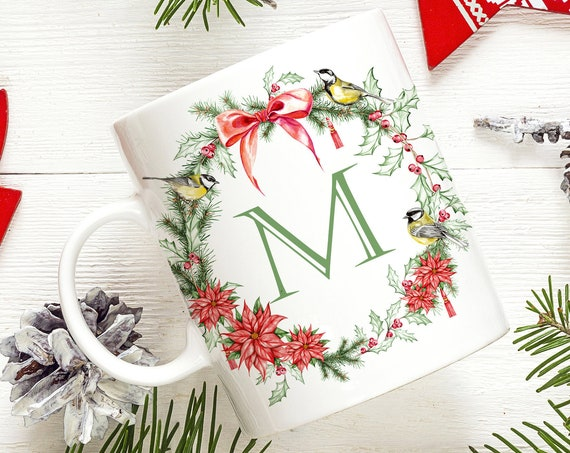 Christmas Wreath Monogram Initial Coffee Mug | Microwave and Dishwasher Safe  | Poinsettia Initial Coffee Cup