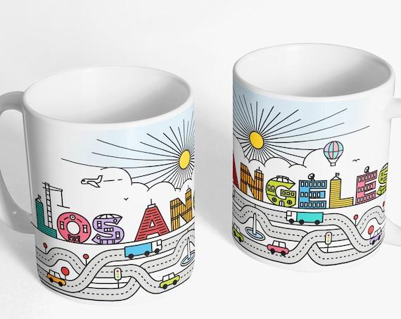 Los Angeles Coffee Mug - Typography Mug - L.A. Mug