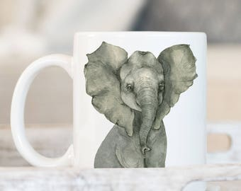 Watercolor Elephant Coffee Mug - Elephant Mug - Animal Mug