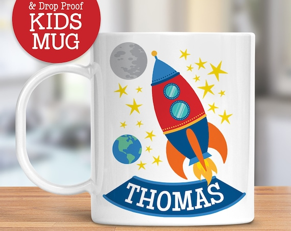 Kids Personalized Cup Rocket Ship Mug | Dishwasher Safe Lightweight Unbreakable Cup for Kids | BPA Free Plastic Mug for Toddler