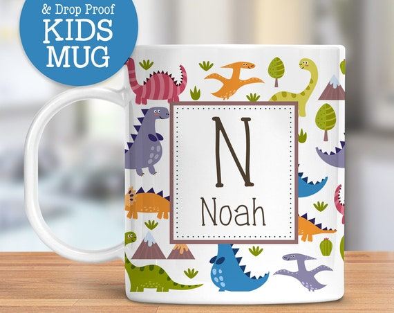 Personalized Kids Dinosaurs Mug| Dishwasher and Microwave Safe Unbreakable Kids Cup | BPA Free Plastic Mug