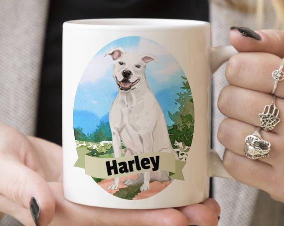 Pitbull Custom Dog Mug - Get your dogs name on a mug - Dog Breed Mug - Great gift for dog owner - Pitbull mug