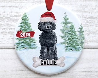 WHITE POODLE BLUE GIFT BOX HOLIDAY ORNAMENT