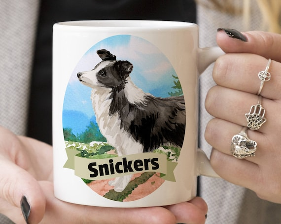 Border Collie Custom Dog Mug - Get your dogs name on a mug - Dog Breed Mug - Great gift for dog owner - Border Collie mug