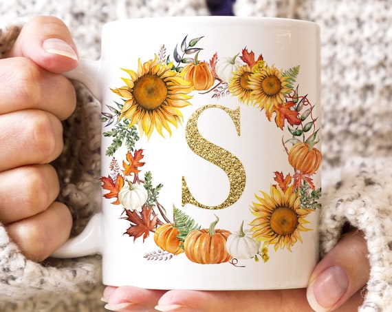 Fall Autumn Monogram Initial Coffee Mug | Microwave and Dishwasher Safe  | Sunflower and Pumpkins Initial Coffee Cup