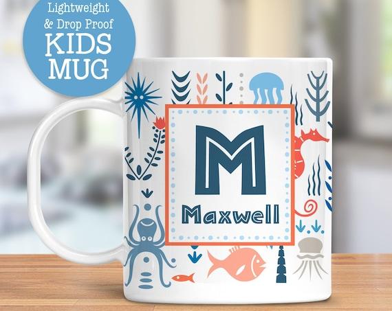 Kids Personalized Sea Life Cup   Dishwasher Safe Lightweight Unbreakable Mug for Kids   BPA and Melamine Free Plastic Mug