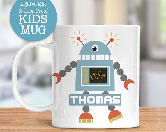 Kids Personalized Robot Cup   Dishwasher Safe Lightweight Unbreakable Mug for Kids   BPA and Melamine Free Plastic Mug