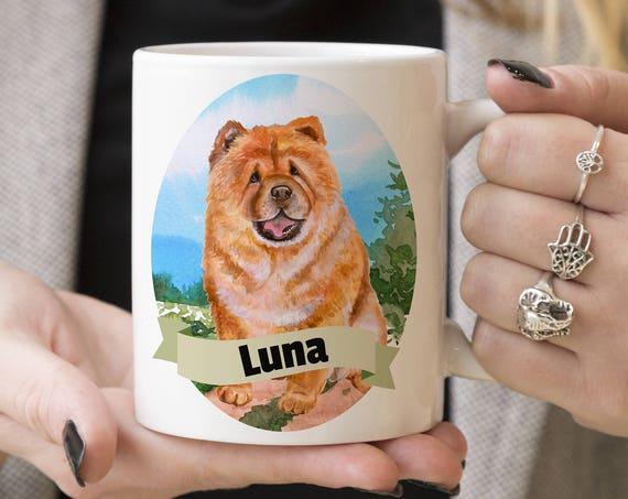 Chow Chow Custom Dog Mug - Get your dogs name on a mug - Dog Breed Mug - Great gift for dog owner - Chow Chow mug