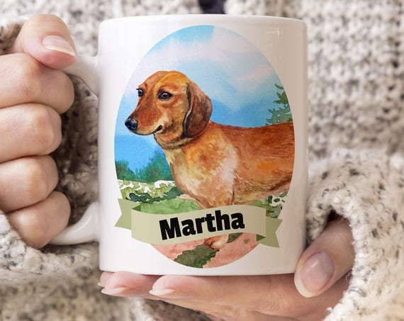 Dachshund Custom Dog Mug - Get your dogs name on a mug - Dog Breed Mug - Great gift for dog owner - Dachshund mug