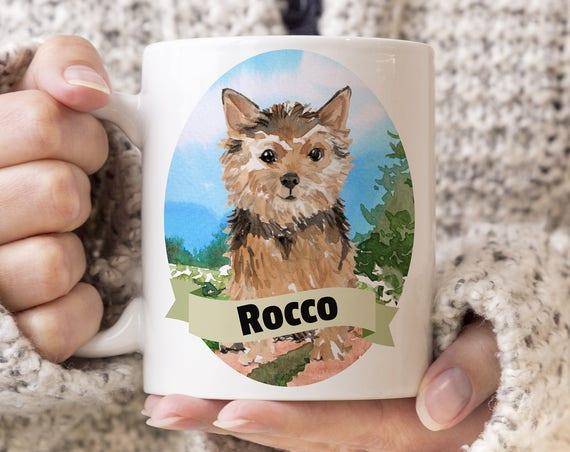 Norfolk Terrier Custom Dog Mug - Get your dogs name on a mug - Dog Breed Mug - Great gift for dog owner - Norfolk Terrier mug
