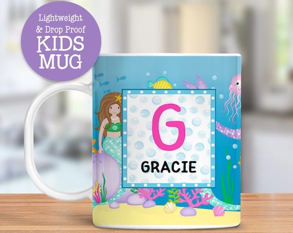 Kids Personalized Mermaids Mug Dishwasher Safe Lightweight Unbreakable Cup for Kids BPA Free Plastic Mug for Toddler