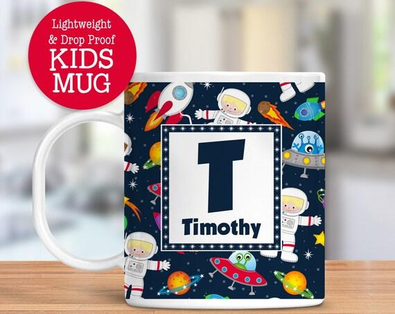Kids Personalized Mug Space Rocket Ship Astronaut Dishwasher Safe Lightweight Unbreakable Cup for Kids BPA Free Plastic Mug for Toddler