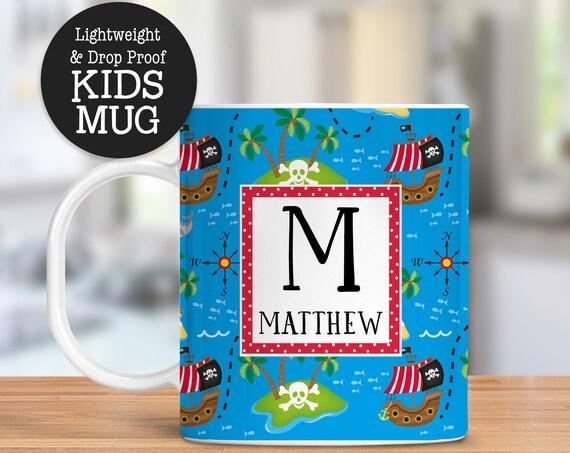 Kids Personalized Pirate Mug Dishwasher Safe Lightweight Unbreakable Cup for Kids BPA Free Plastic Mug for Toddler