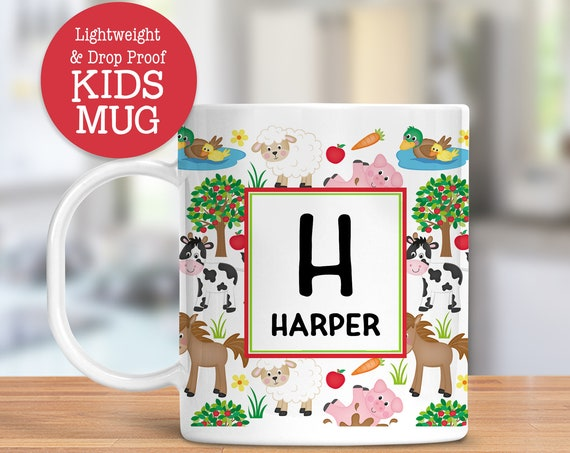 Kids Personalized Mug On the Farm Dishwasher Safe Lightweight Unbreakable Cup for Kids BPA Free Plastic Mug for Toddler