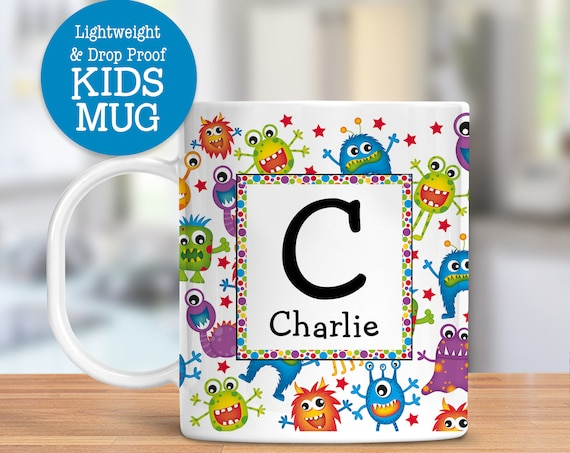 Kids Personalized Mug Cute Colorful Monsters Dishwasher Safe Lightweight Unbreakable Cup for Kids BPA Free Plastic Mug for Toddler