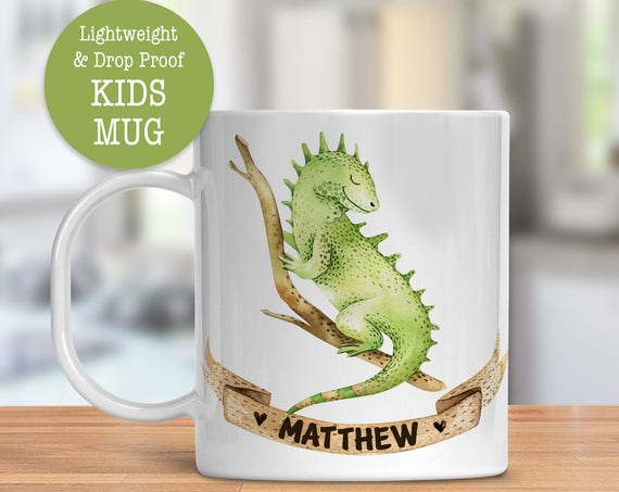 Kids Mug - Personalized Mug - Iguana Cup - Dishwasher Safe - Lightweight Drop Proof Cup for Kids - Plastic Mug for Kids with Name