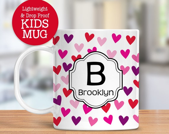 Kids Personalized Hearts Cup Dishwasher Safe Lightweight Unbreakable Cup for Kids BPA Free Plastic Mug for Toddler