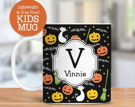 Kids Personalized Halloween Jack O' Lantern Cup Dishwasher Microwave Safe Lightweight Unbreakable Mug for Kids BPA Free