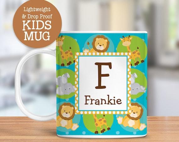 Kids Personalized Mug Nursery Jungle Animals Dishwasher Safe Lightweight Unbreakable Cup for Kids BPA Free Plastic Mug for Toddler