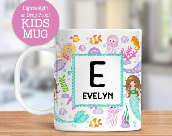 Kids Personalized Mermaid Mug Dishwasher Safe Lightweight Unbreakable Cup for Kids BPA Free Plastic Mug for Toddler