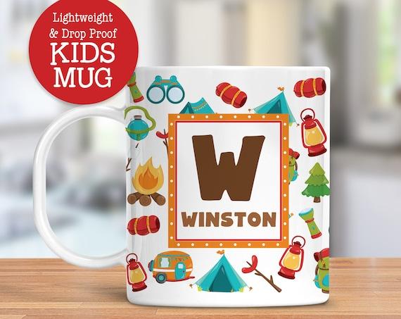 Kids Personalized Mug Camping Dishwasher Safe Lightweight Unbreakable Cup for Kids BPA Free Plastic Mug for Toddler
