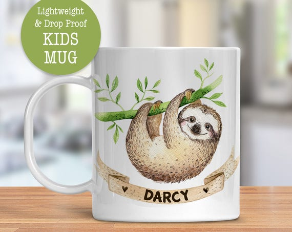 Kids Mug - Personalized Mug - Sloth Mug - Dishwasher Safe - Lightweight Drop Proof Cup for Kids - Plastic Mug for Kid Kids Custom Cup