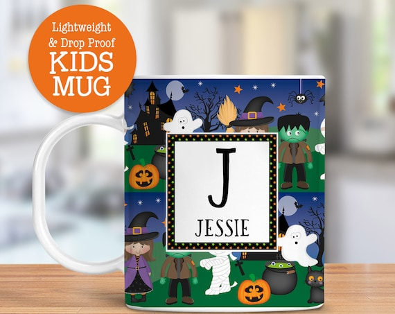 Kids Personalized Halloween Mug Dishwasher and Microwave Safe Lightweight Unbreakable Cup for Kids BPA Free Plastic Mug for Toddler