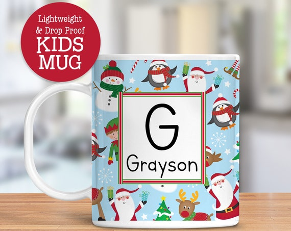 Kids Personalized Christmas Mug with Santa, Snowman, Elf | Dishwasher Safe Lightweight Unbreakable Cup Kids BPA Free Plastic Mug for Toddler