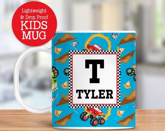Kids Personalized Mug Monster Trucks Dishwasher Safe Lightweight Unbreakable Cup for Kids BPA Free Plastic Mug for Toddler
