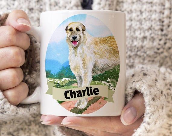 Irish Wolfhound Custom Dog Mug - Get your dogs name on a mug - Dog Breed Mug - Great gift for dog owner - Irish Wolfhound mug
