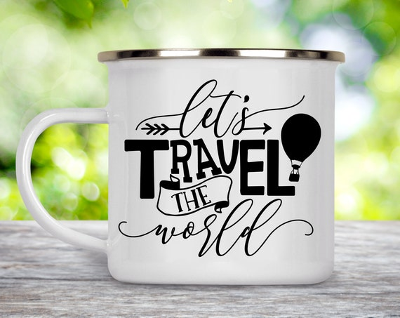 Camp Cup Let's Travel the World - Hot Air Balloon Enamel Camp Mug - Dishwasher Safe