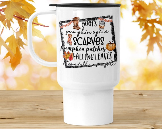 Autumn Travel Mug | Fall Pumpkin Spice Coffee Travel Tumbler with Lid | 18 oz Polymer BPA Free Travel Cup | Free Shipping