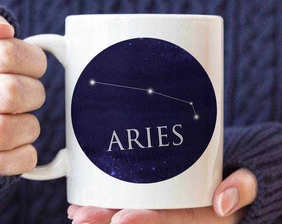 Celestial Aries Constellation Coffee Mug | Microwave and Dishwasher Safe | Aries Horoscope Ceramic Cup | Coating Made in USA
